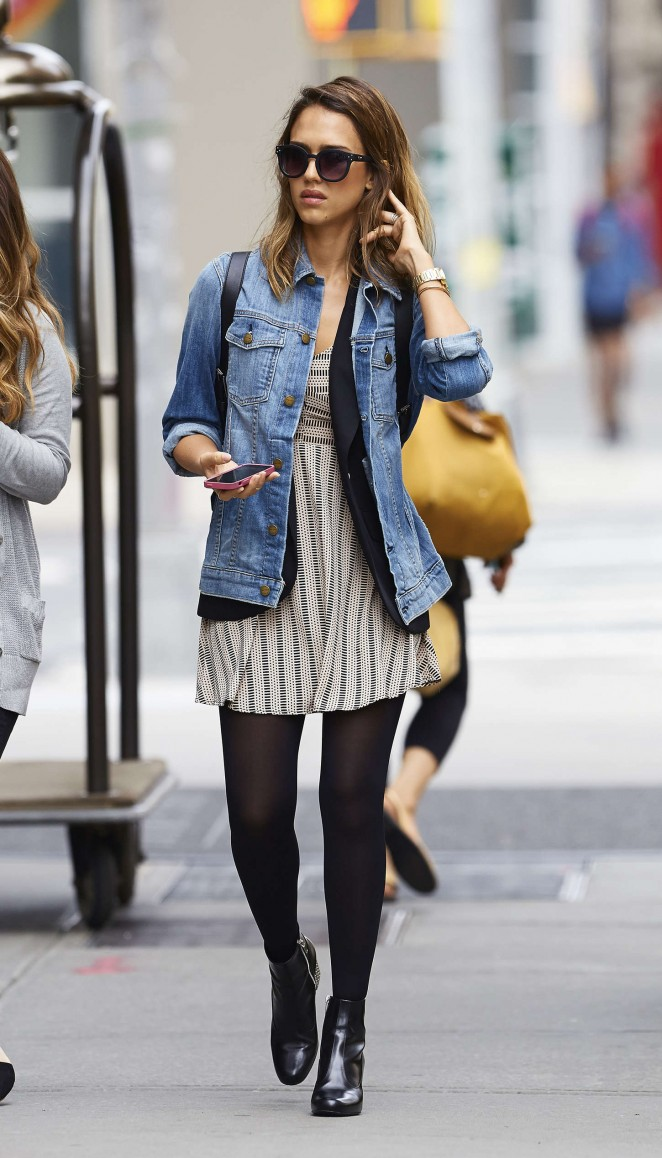 Jessica Alba in Mini Dress out in Soho