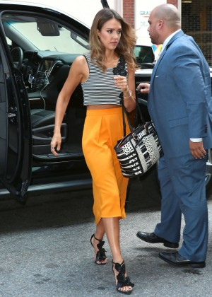 Jessica Alba in yellow skirt.-07