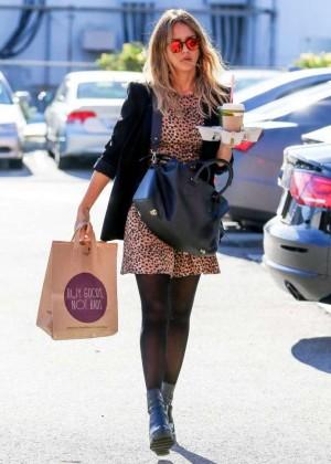 Jessica Alba in Mini Dress - Heads to the Office in Santa Monica