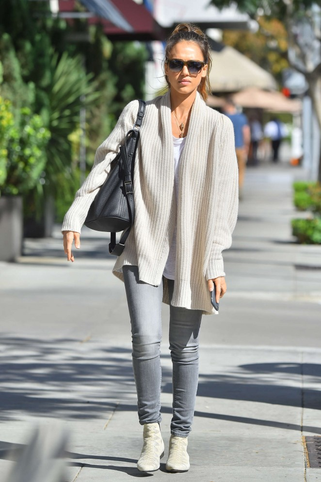 Jessica Alba In Jeans And Sweater Out In Beverly Hills