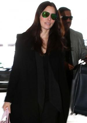 Jessica Biel - Arriving at LAX airport in LA