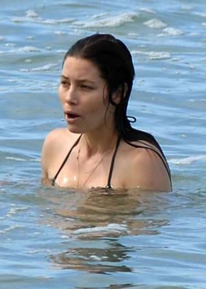 Jessica Biel in Black Bikini in Maui -66