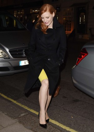 Jessica Chastain in Black Coat Arriving at her hotel in London