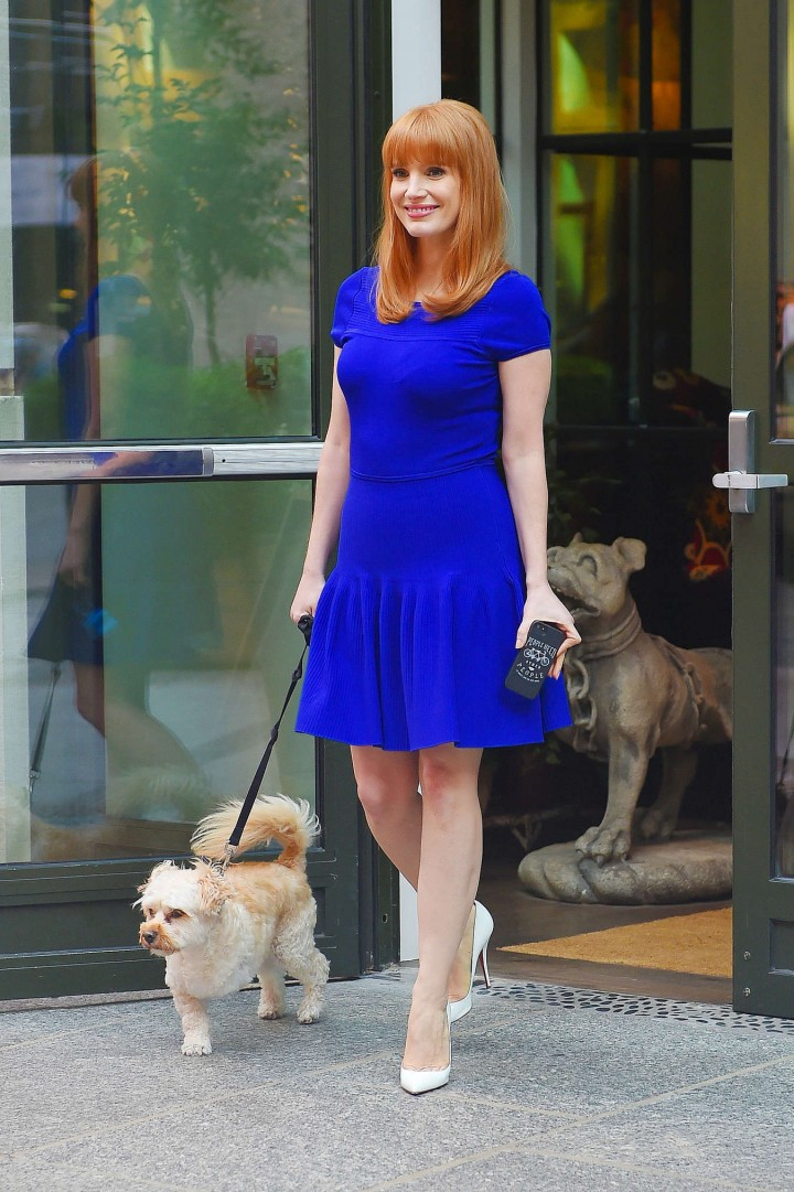 Jessica Chastain In a Purple Dress Crosby Street Hotel in Manhattan