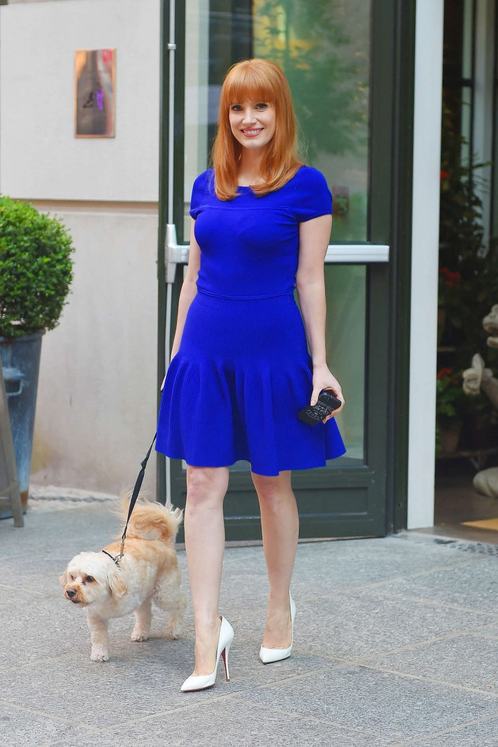 Jessica Chastain In a Purple Dress-07 - GotCeleb