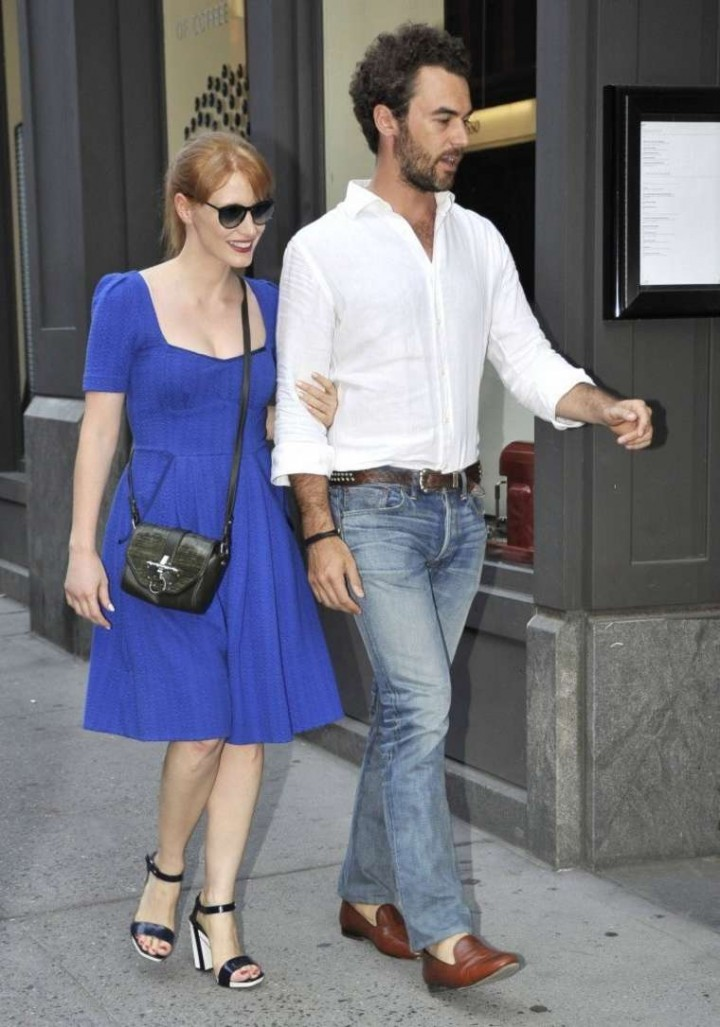 Jessica Chastain in Blue Dress Out in New York City