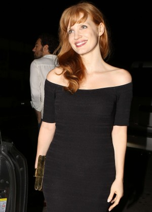 Jessica Chastain in Black Mini Dress Leaving Giorgio Baldi Restaurant in Santa Monica