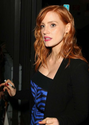 Jessica Chastain in Blur Dress out in West Hollywood