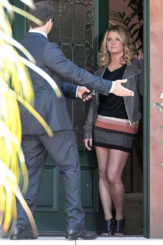 Jessica Simpson on the set of Entourage