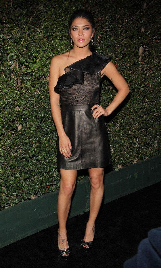 Jessica Szohr legs in tight dress at Valentino Store Opening
