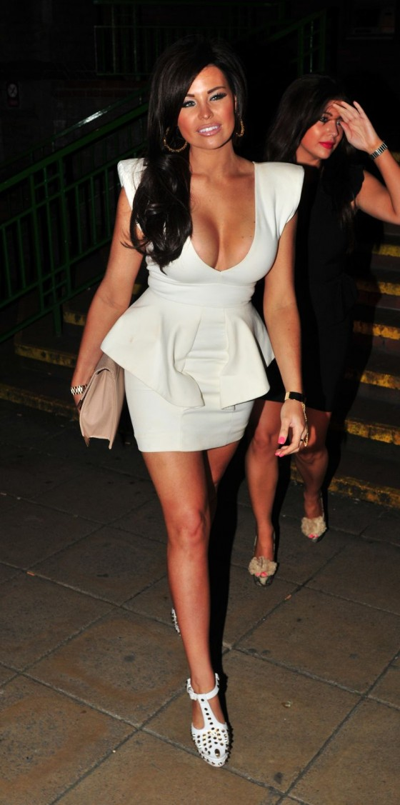 Jessica Wright - Cleavage in White Short Dress in Liverpool