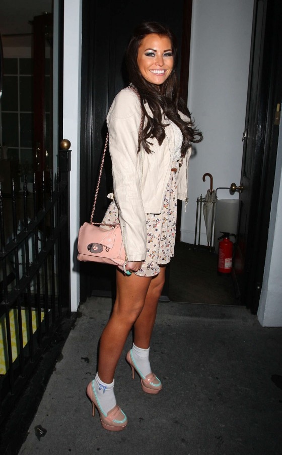 Jessica Wright Showing her toned legs in a mini skirt at Cadbury Unwrap Gold Launch Party - East London