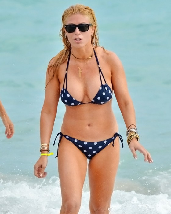 Jill Martin In Blue Polka Dot Bikini in Miami Beach