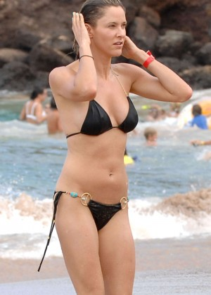 Jill Wagner in Black Bikini at the Beach in Maui