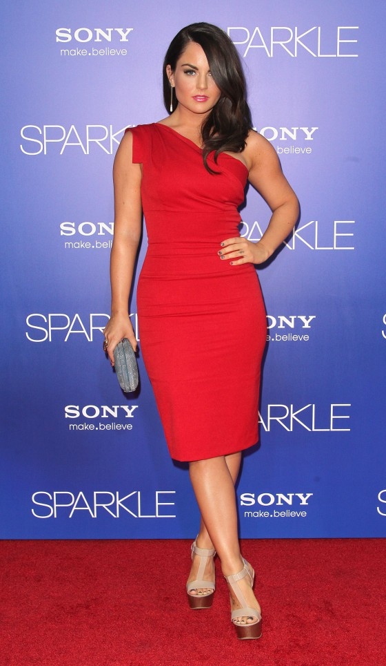 Joanna JoJo Levesque in red tight dress at Sparkle Premiere
