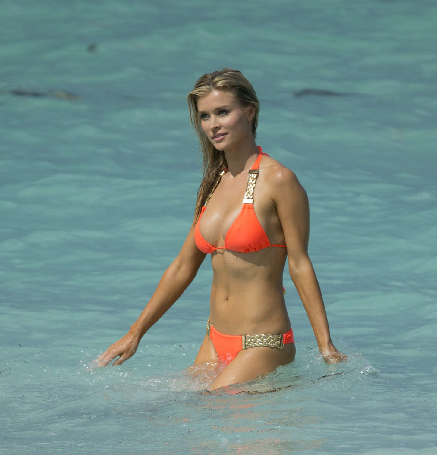 Joanna Krupa in a orange bikini in Miami-07