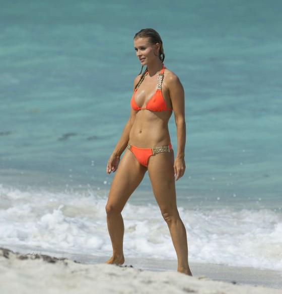 Joanna Krupa in a orange bikini in Miami-28