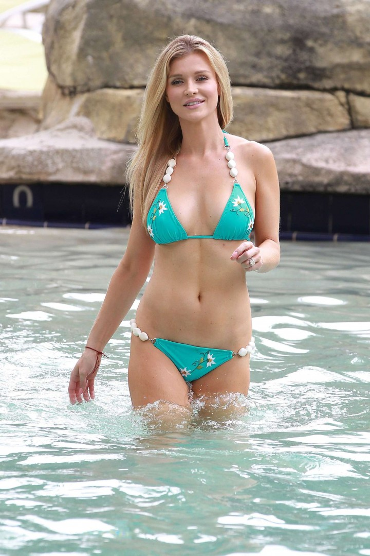 Joanna Krupa – Wearing a bikini at a pool in Hollywood
