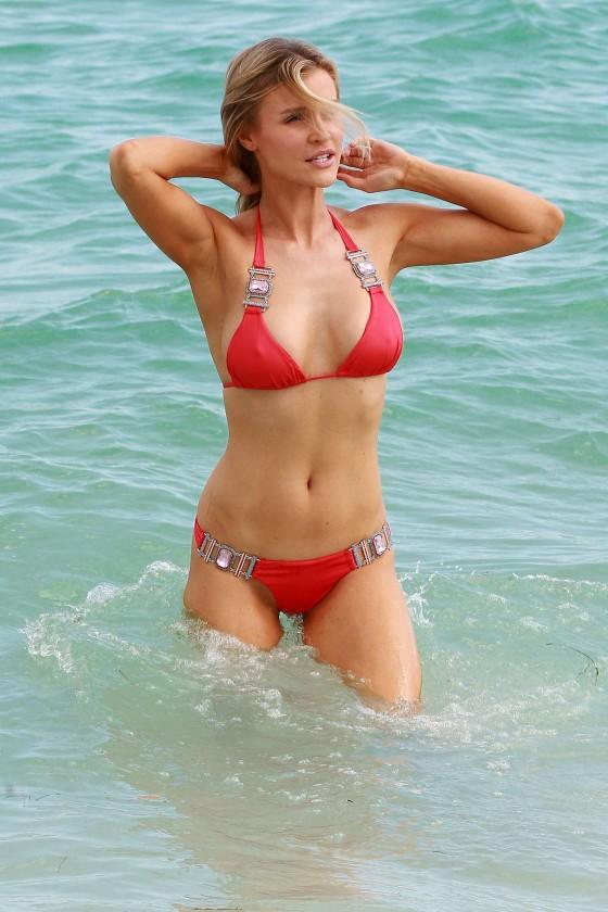 Joanna Krupa – wearing a red bikini in Miami