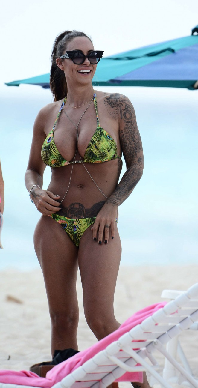 Jodie Marsh in Bikini on Barbados Beach