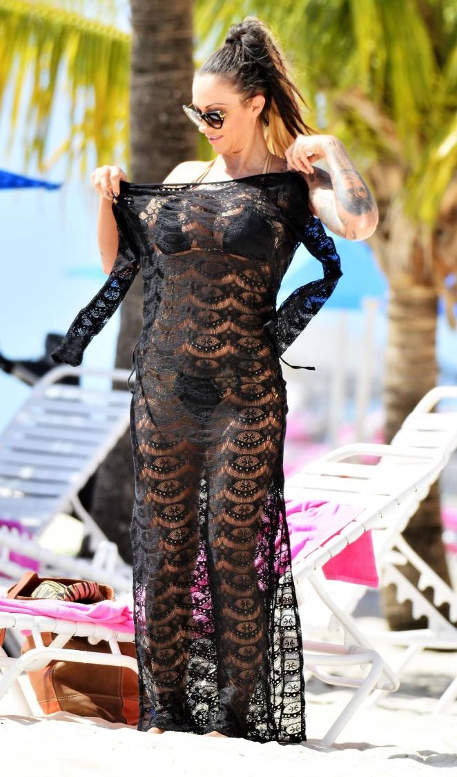 Jodie Marsh in Black Bikini on the Beach in Barbados