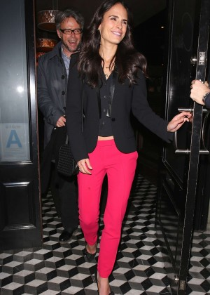 Jordana Brewster in Red Pants Leaving Craig's in West Hollywood