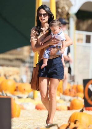 Jordana Brewster in Shorts at Mr. Bones Pumpkin Patch in LA