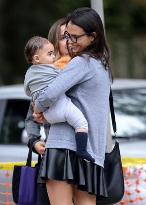 Jordana Brewster in Mini Skirt - Takes her son trick or treating in LA