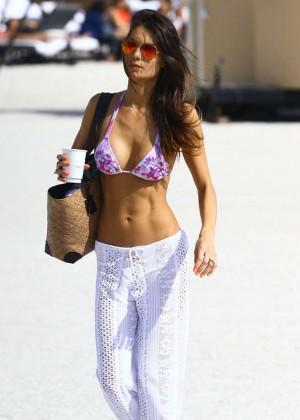 Julia Pereira in Bikini Top on Miami Beach