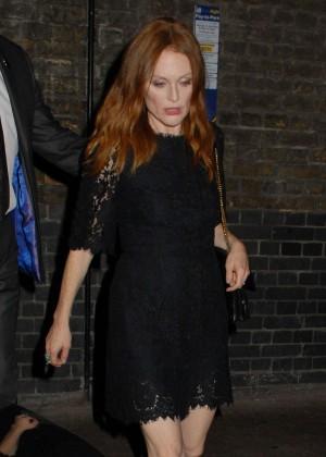 Julianne Morre in Black Mini Dress at the Chiltern Firehouse in Marylebone London