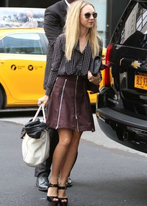 Juno Temple in Mini Skirt Arriving at her hotel in NYC