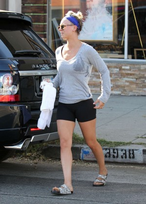 Kaley Cuoco in Tiny Shorts Leaving a gym in LA