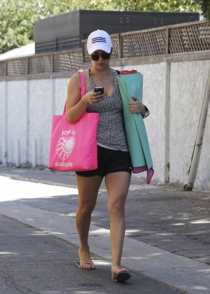 Kaley Cuoco in Tight Shorts Leaving a yoga class in Sherman Oaks