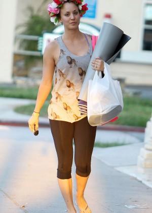 Kaley Cuoco - leaving yoga class in LA