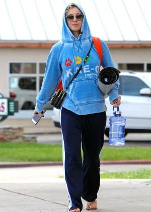 Kaley Cuoco in Sweats Leaving Yoga Class in LA