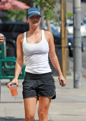 Kaley Cuoco in Black shorts out in Tarzana