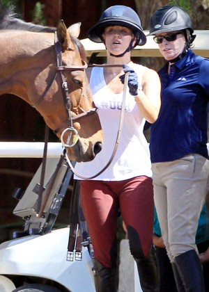 Kaley Cuoco in Tight Pants Riding a Horse in Moorpark