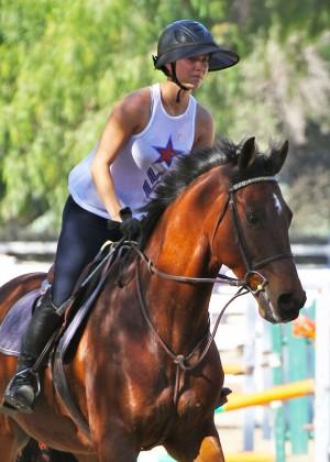 Kaley Cuoco - Riding her horse in LA