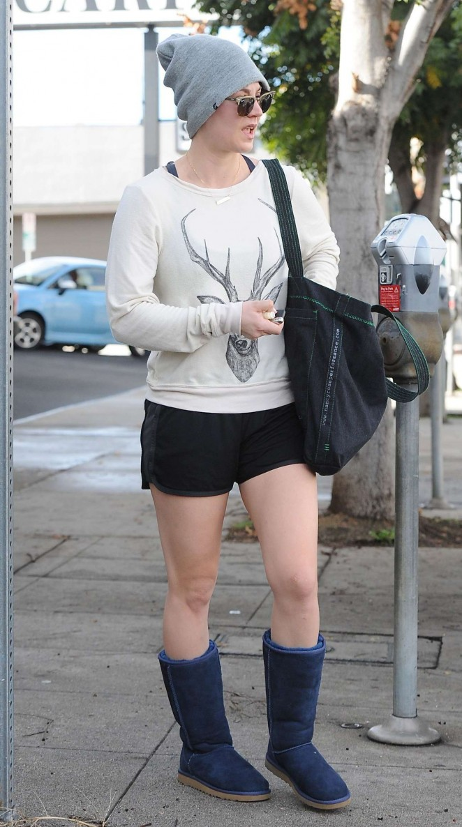 Kaley Cuoco in Black Shorts out in LA
