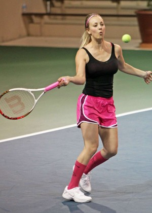 Kaley Cuoco in pink shorts -12