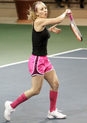 Kaley Cuoco in pink shorts -17