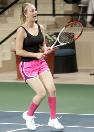 Kaley Cuoco in pink shorts -25