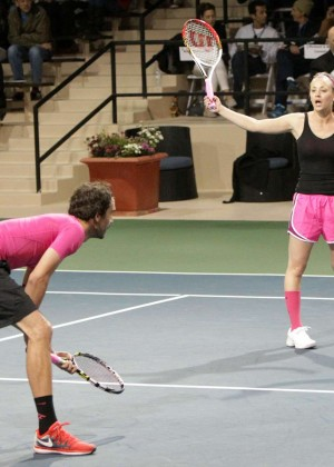 Kaley Cuoco in pink shorts -29
