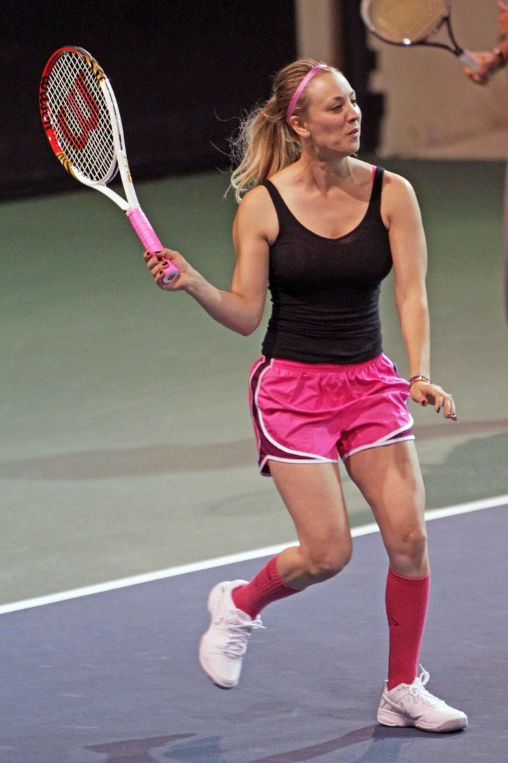 Kaley Cuoco in pink shorts -30