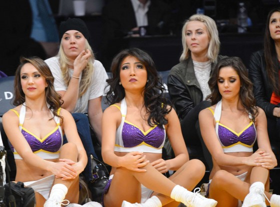 Kaley Cuoco with Julianne Hough and Nina Dobrev at the Kings vs Lakers game -11