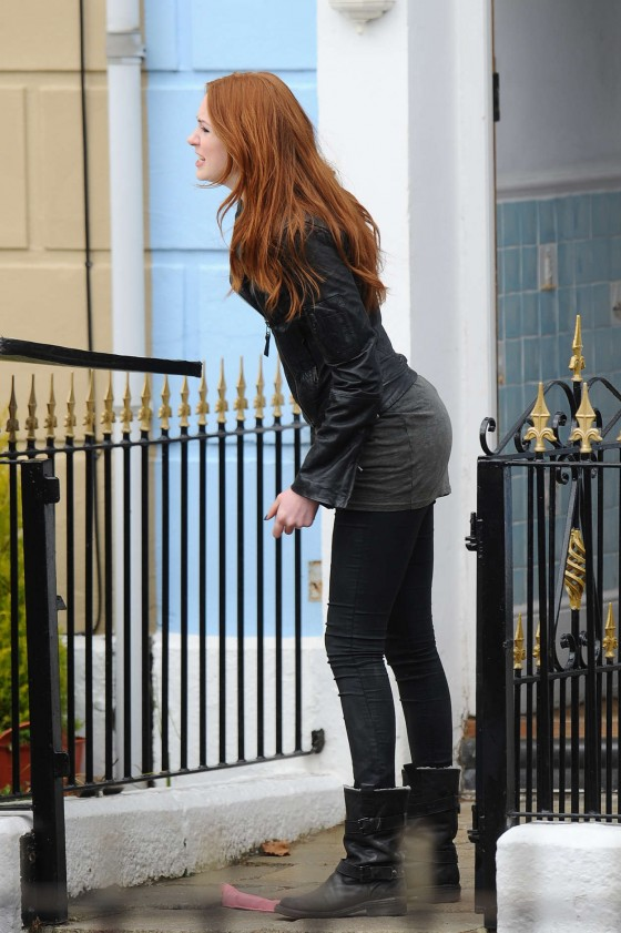 Karen Gillian on the set of Doctor Who In Cardiff