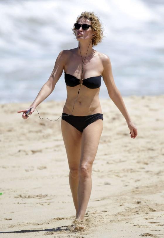 Karen Mulder - bikini candids in St Barts -03