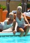 Karissa and Kristina Shannon Bikini by the pool-03