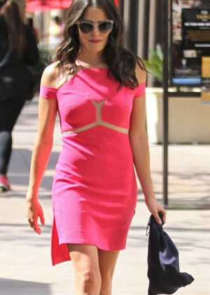Karla Souza in Pink Mini Dress Shopping at The Grove in Hollywood