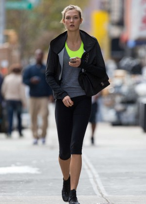 Karlie Kloss in Leggings and Sports Bra at the gym in New York City
